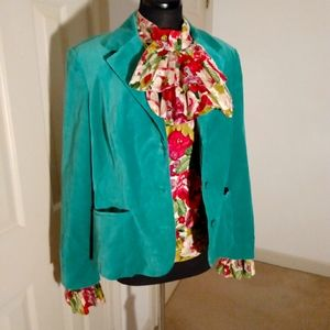 Style & Co, faux velvet, kelly green blazer